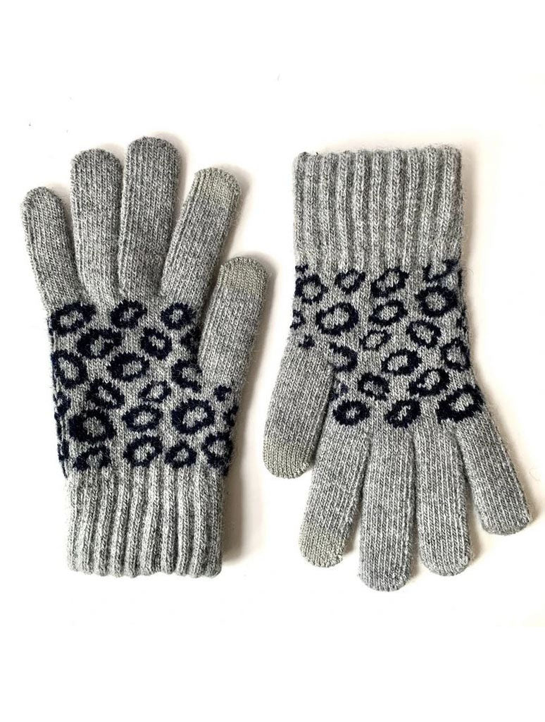CRC Touch Knit Gloves in Grey Leopard