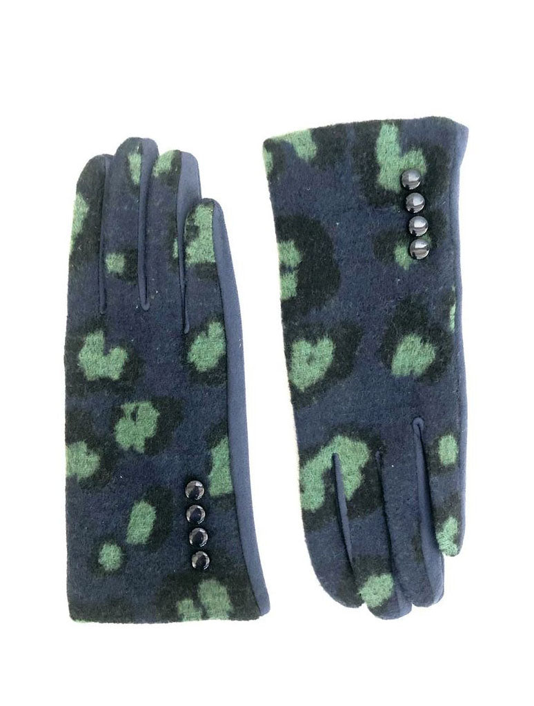 CRC Touch Gloves in Navy Green Leopard