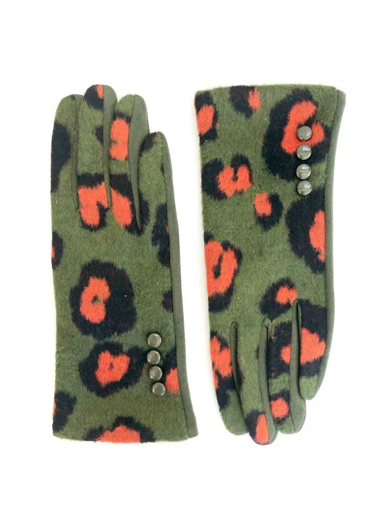 CRC Touch Gloves in Olive Orange Leopard