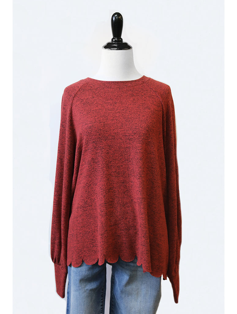 Coin 1804 Scallop Top in Maroon