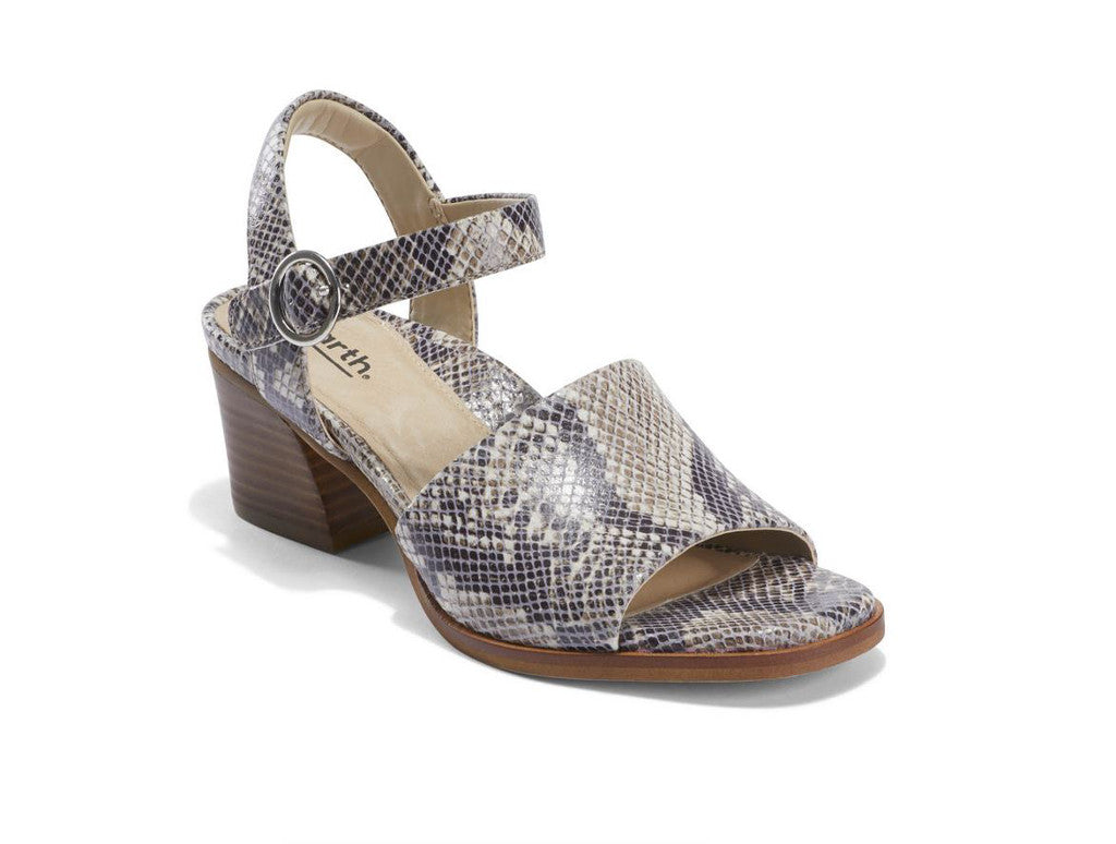 Earth Murano Haze Open Toe Sandal in Taupe Multi Snake