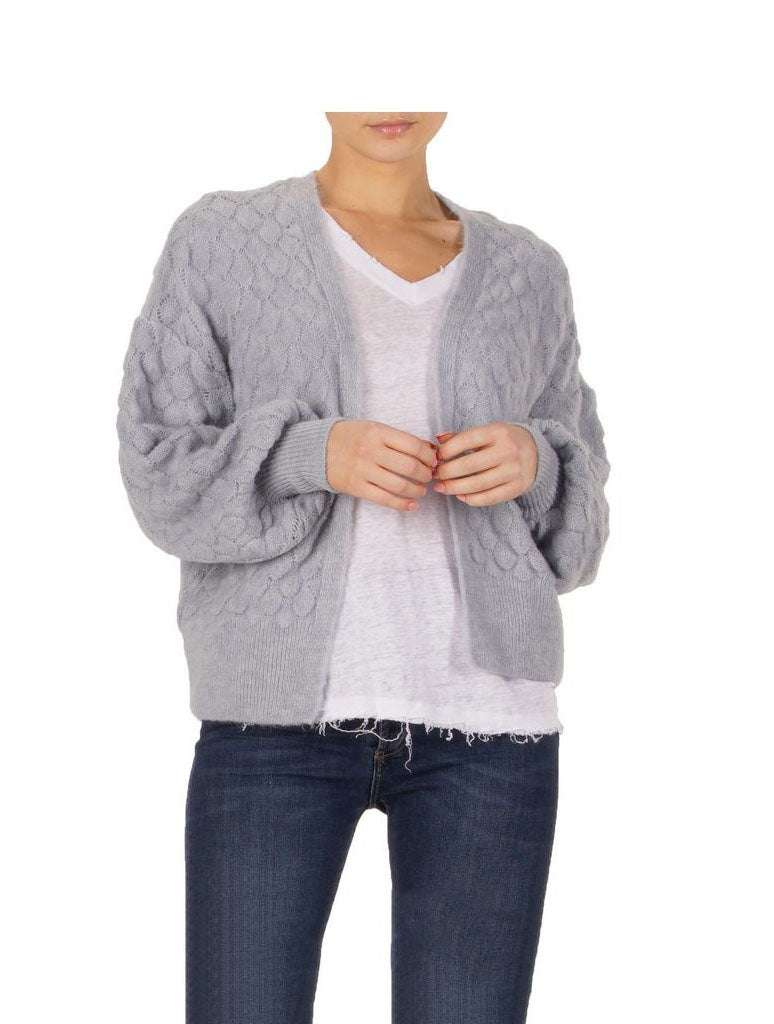 Elan Puff Sleeves Cardigan in Dusty Blue