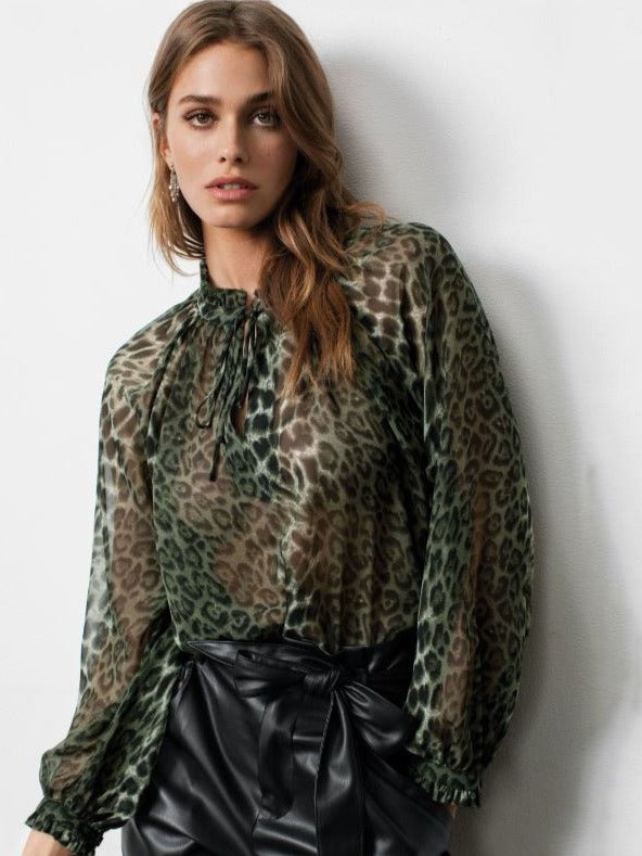 Elan Peasant Neck Tie Blouse in Olive Leopard
