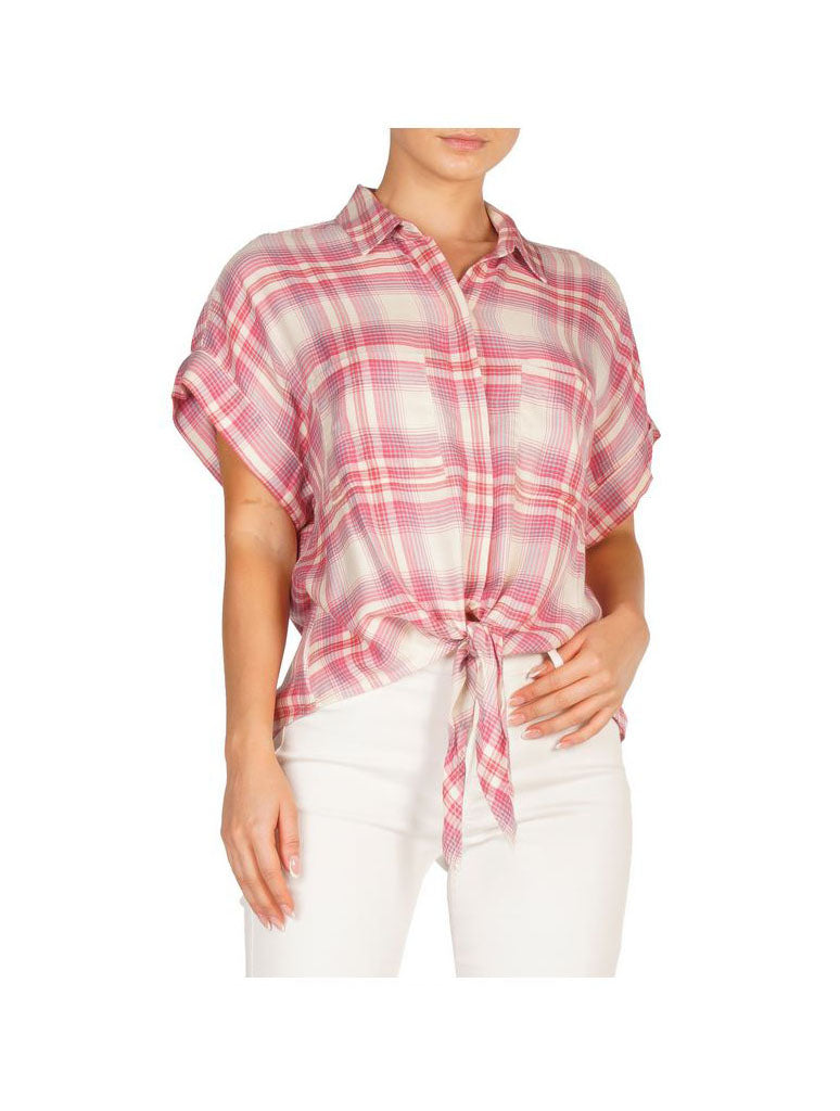 Elan Plaid Blouse in Pink