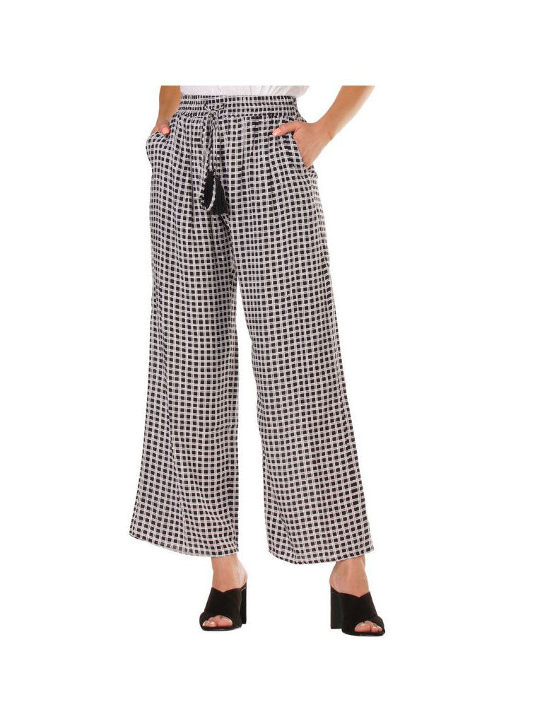 Elan Wide Legged Pant in Black White