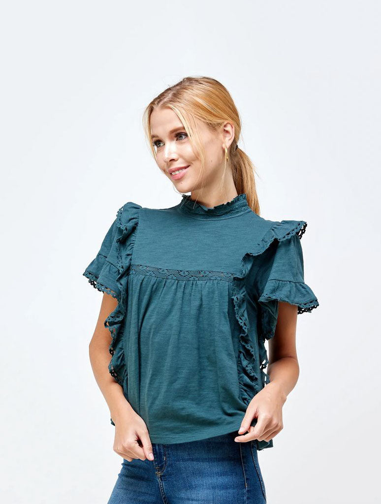 Ellison Mock Neck Blouse in Teal
