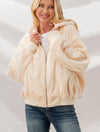 Trend Notes Reversible Sherpa Hoodie in Cream