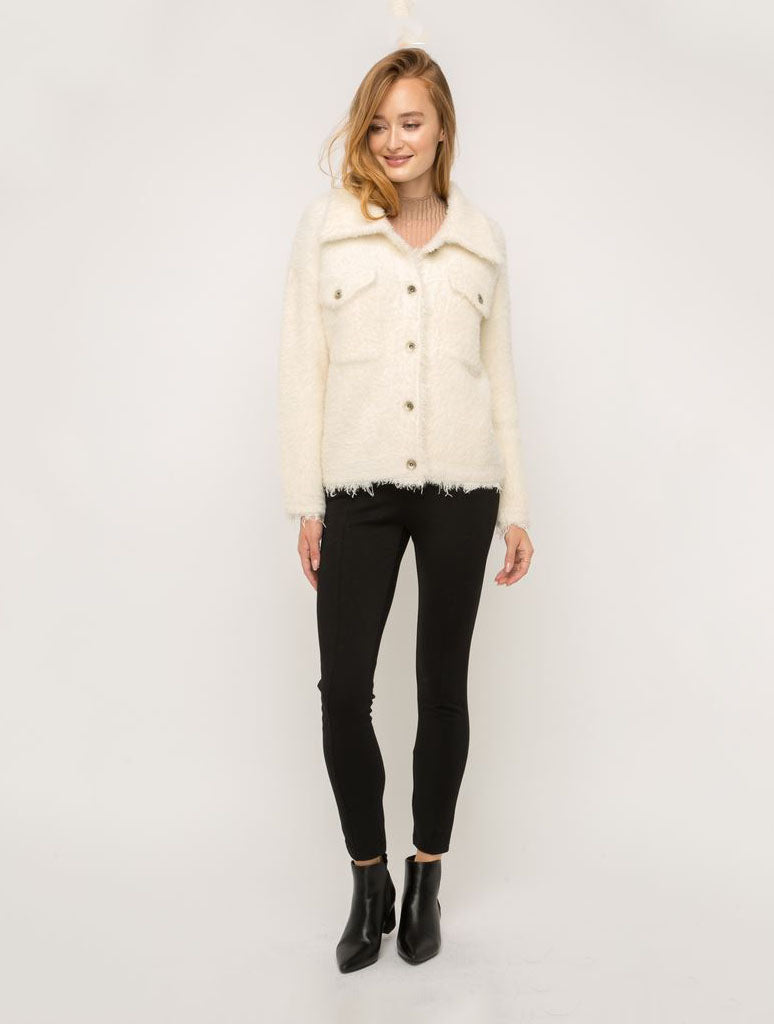Mystree Button Up Jacket in Ivory