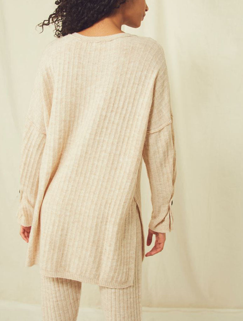 Free People Around Clock Pullover Shirt in Oatmeal