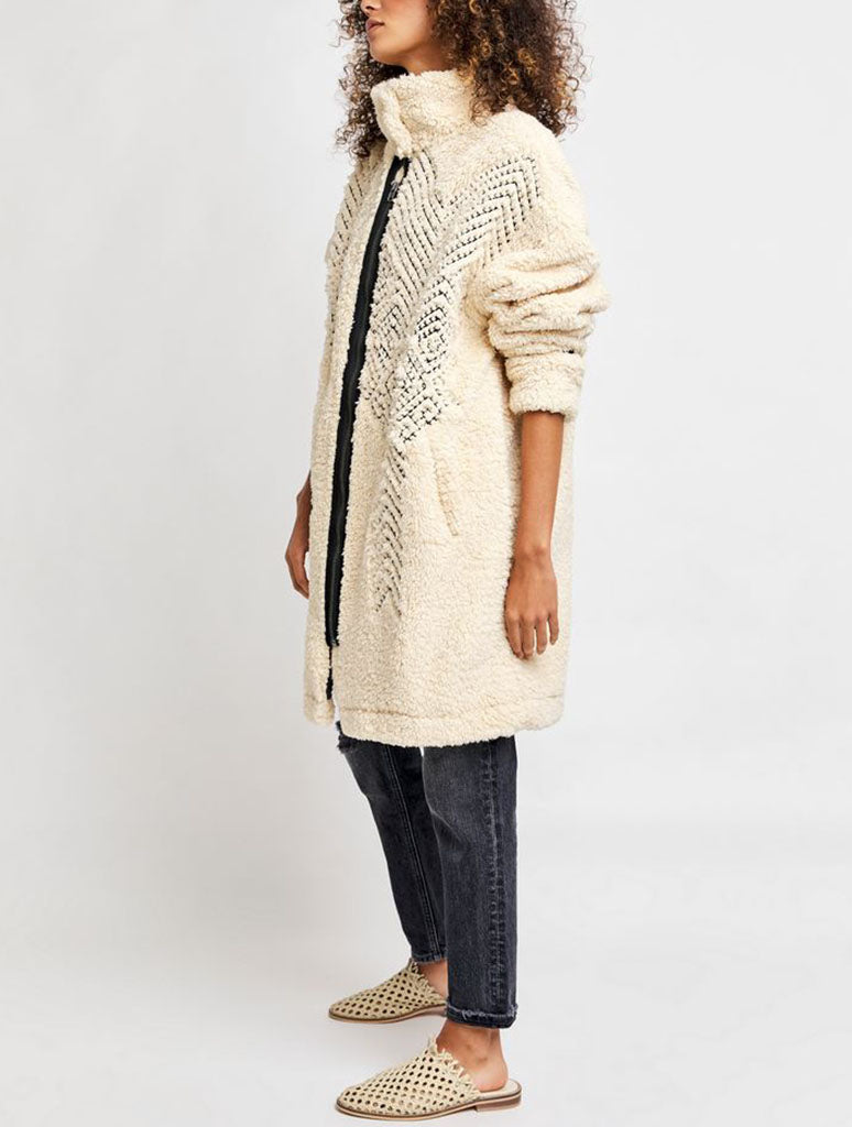 Free People Avery Embroidered Teddy Coat in Oatmeal