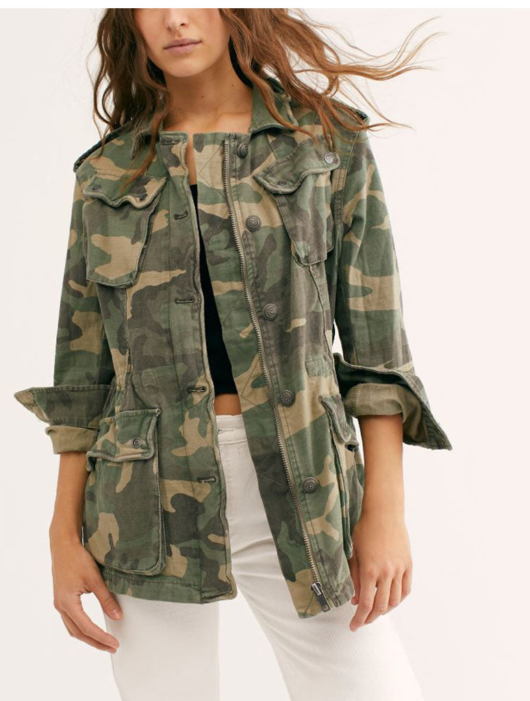 Free People Not Your Bro Surplus Jacket in Camo