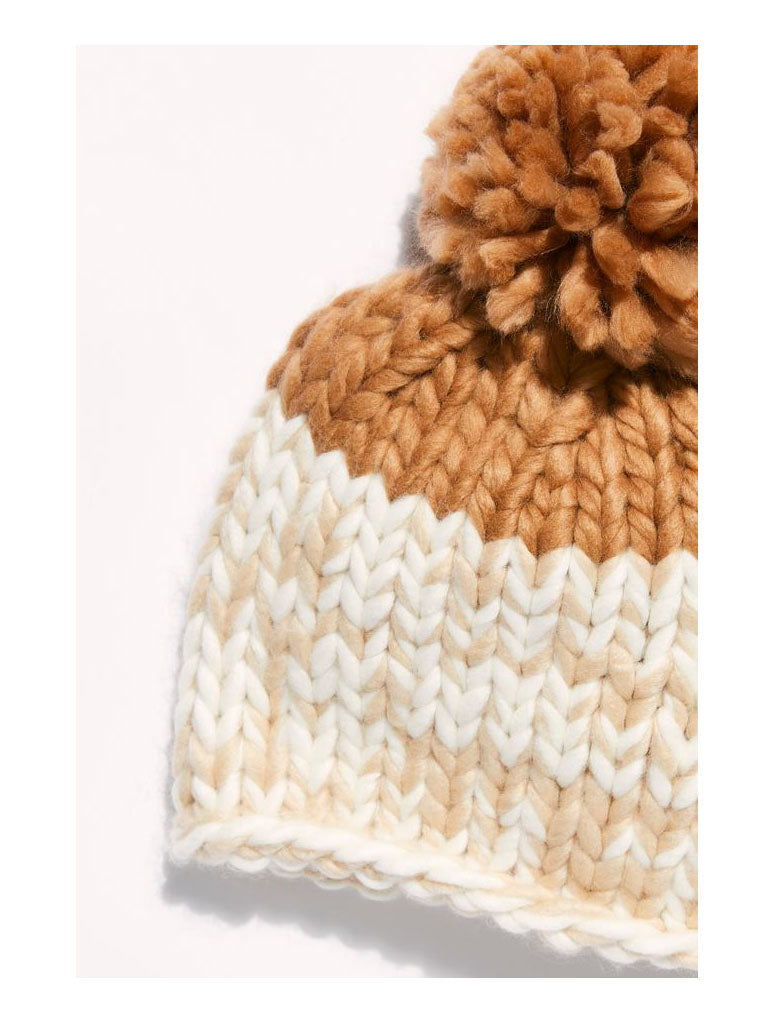 Free People Cozy Up Pom Beanie in Oat Camel
