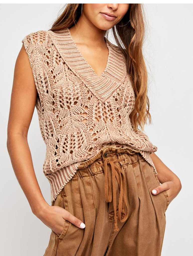 Free People Orchid Pointelle Vest in Soft Earth