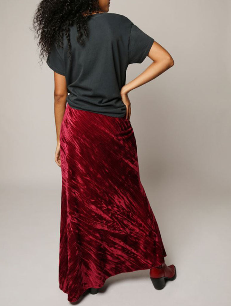 Free People Noa Velvet Slip Maxi Skirt in Fairytale