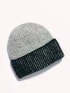 Free People Straight Chill Ribbed Beanie in Black Grey