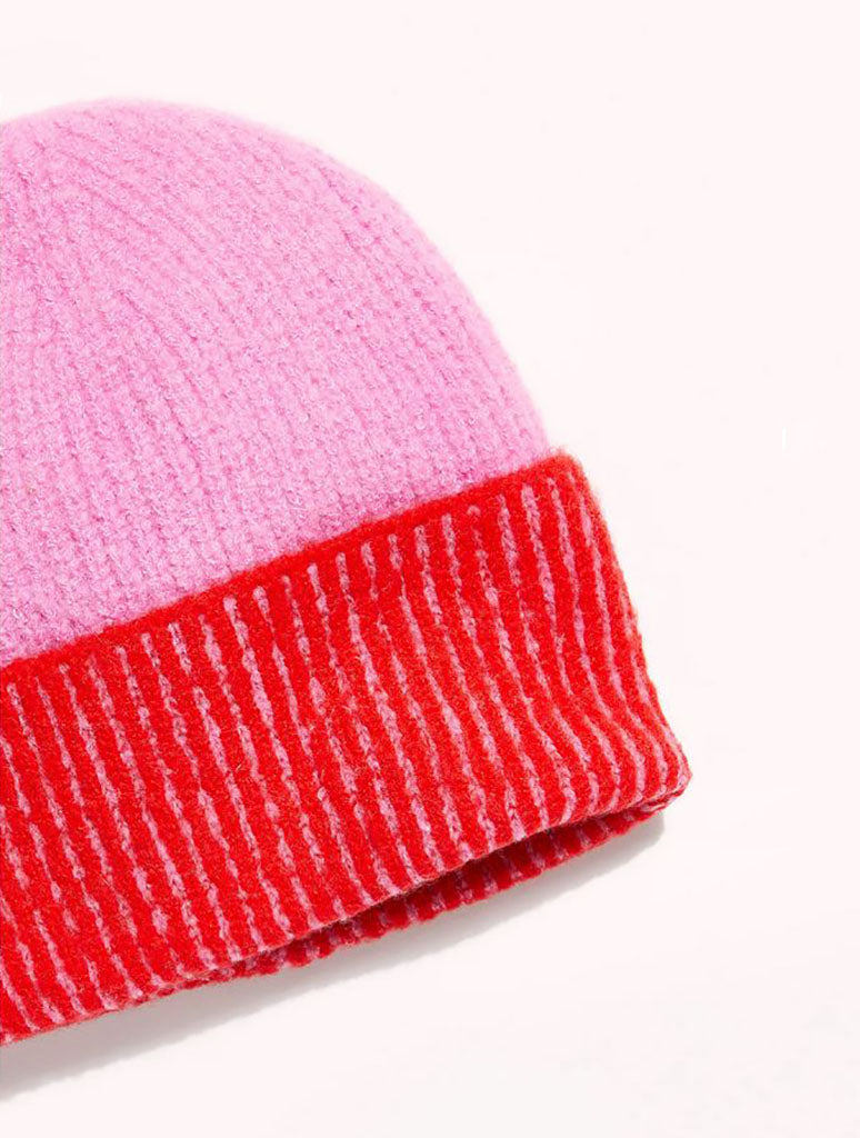 Free People Straight Chill Beanie in Red Pink