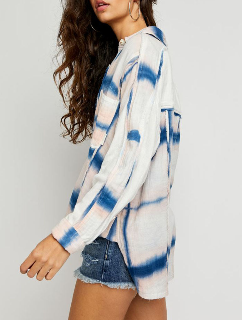 Free People WTF Washed Away Plaid Top in Ocean Combo