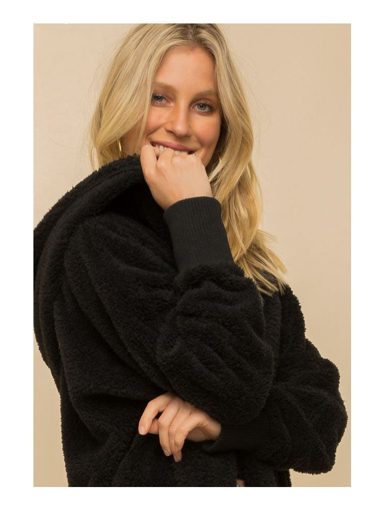 Hem & Thread Fuzzy Wrap Jacket in Black