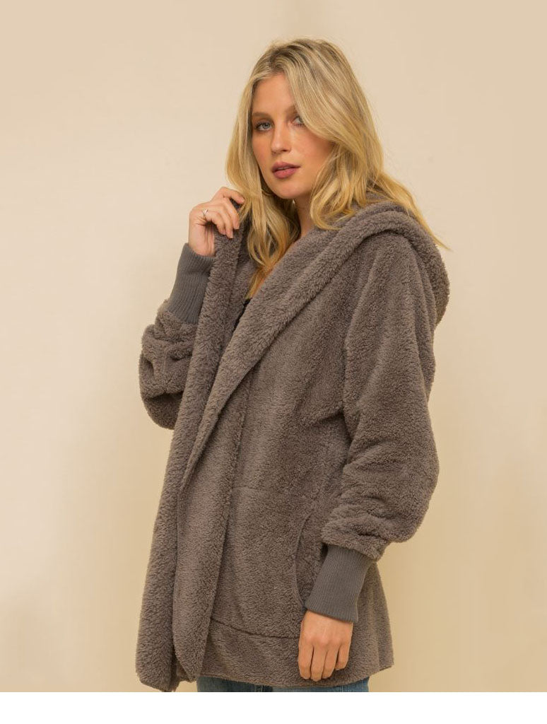 Hem & Thread Fuzzy Wrap Jacket in Steel Grey