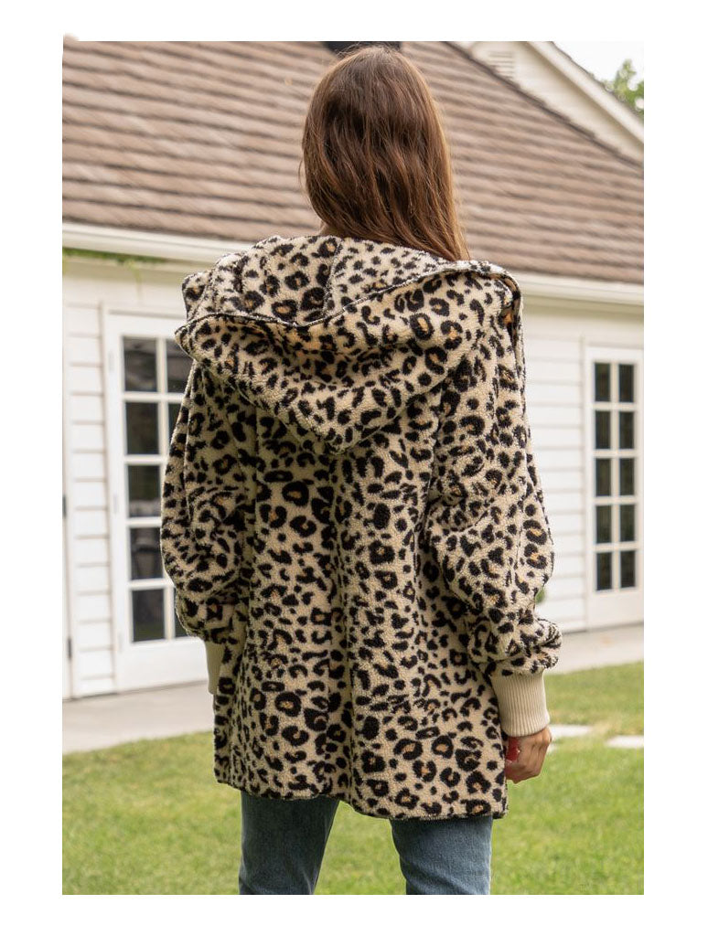 Hem & Thread Fuzzy Wrap Jacket in Leopard