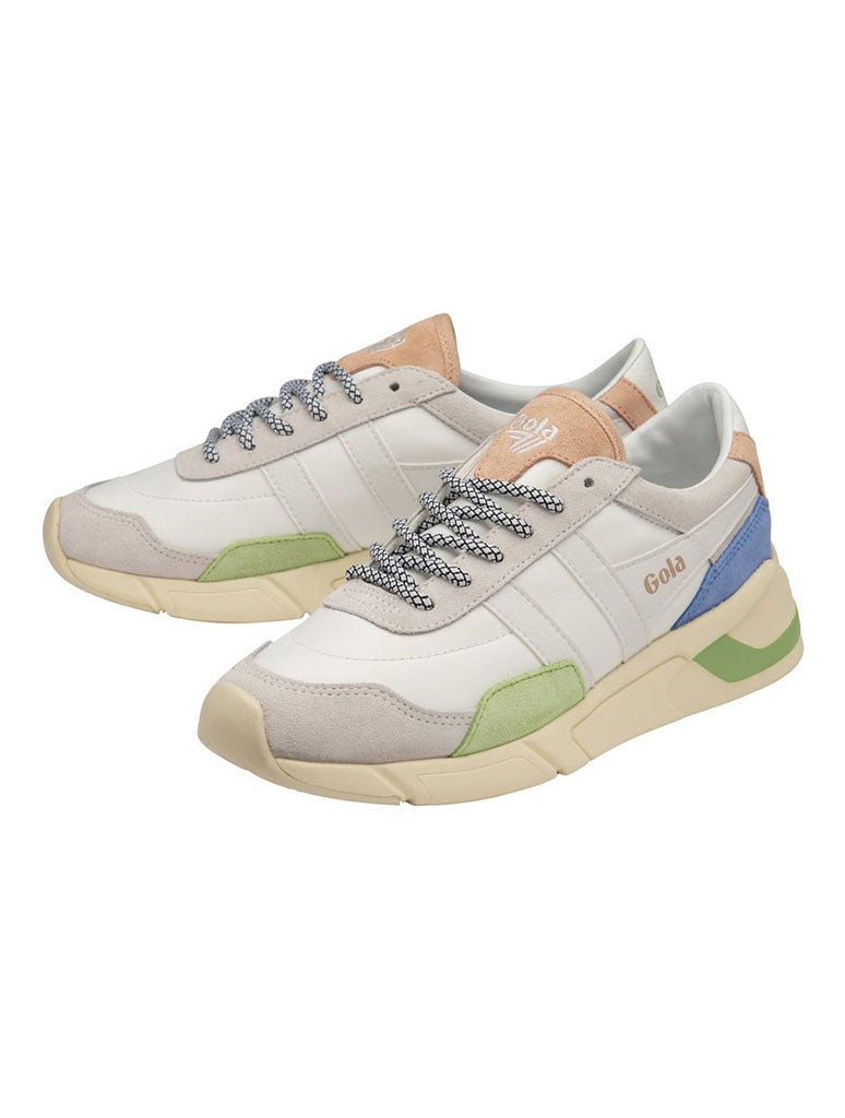 Gola Eclipse Trident Sneaker in White/Patina Green/Vista Blue