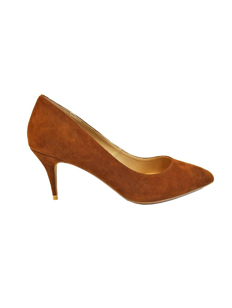 Golo Francine Black Suede Heeled Pump in Brandy