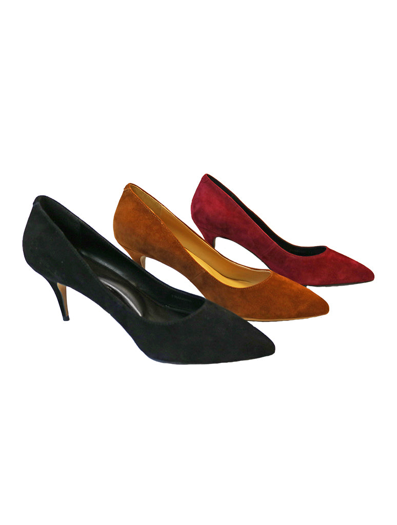 Golo Francine Black Suede Heeled Pump in Burgundy