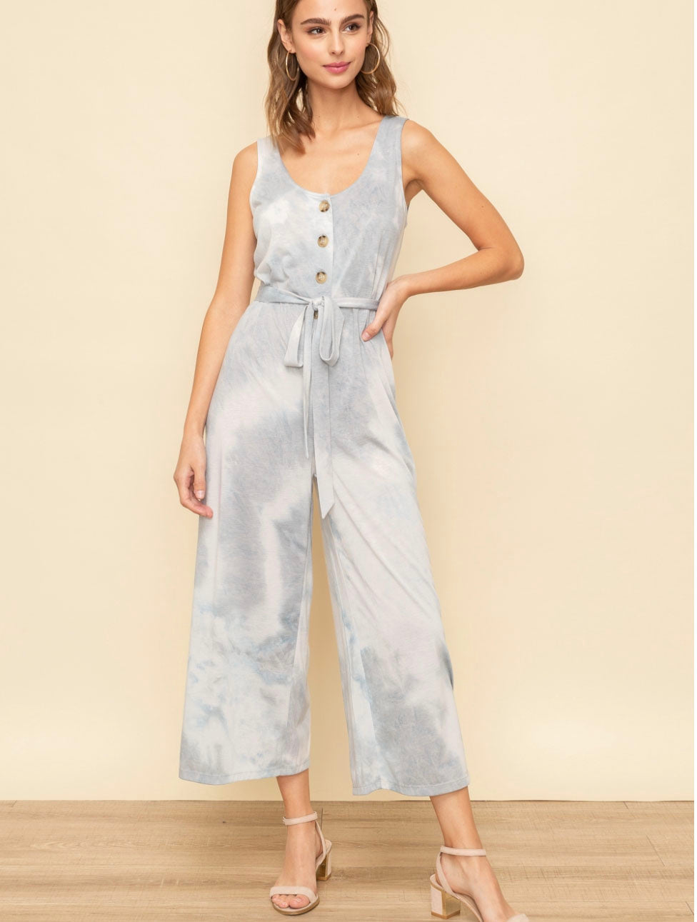 Hem & Thread Crepe Jumpsuit in Blue