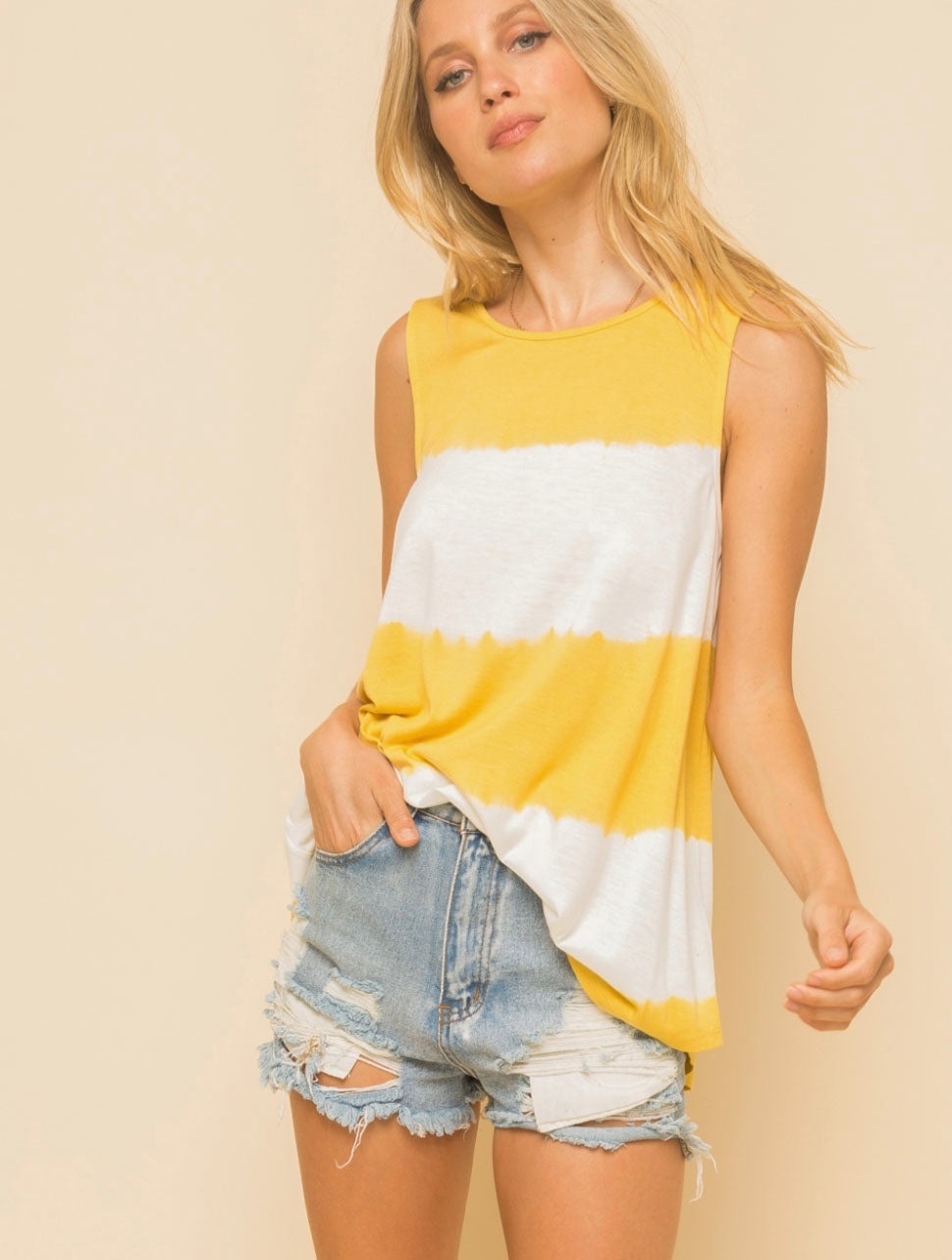 Hem & Thread Striped Tank in Mustard/White