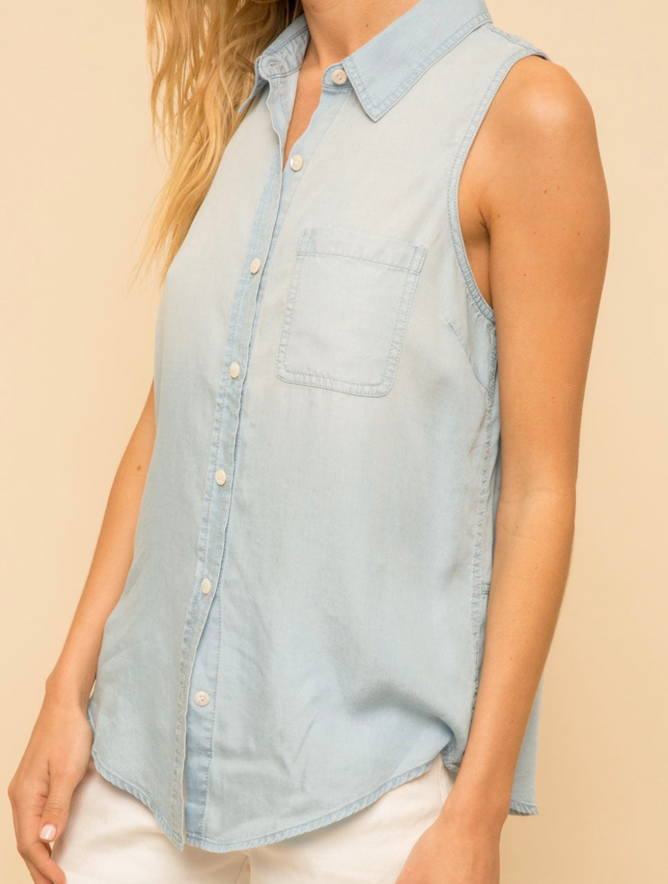 Hem & Thread Chambray Tank Top in Denim