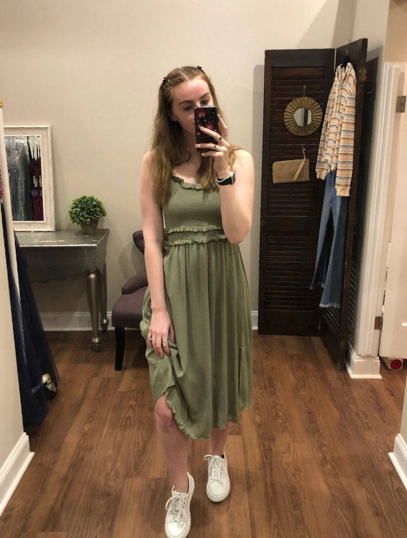 Hem & Thread Smock Midi Dress in Olive