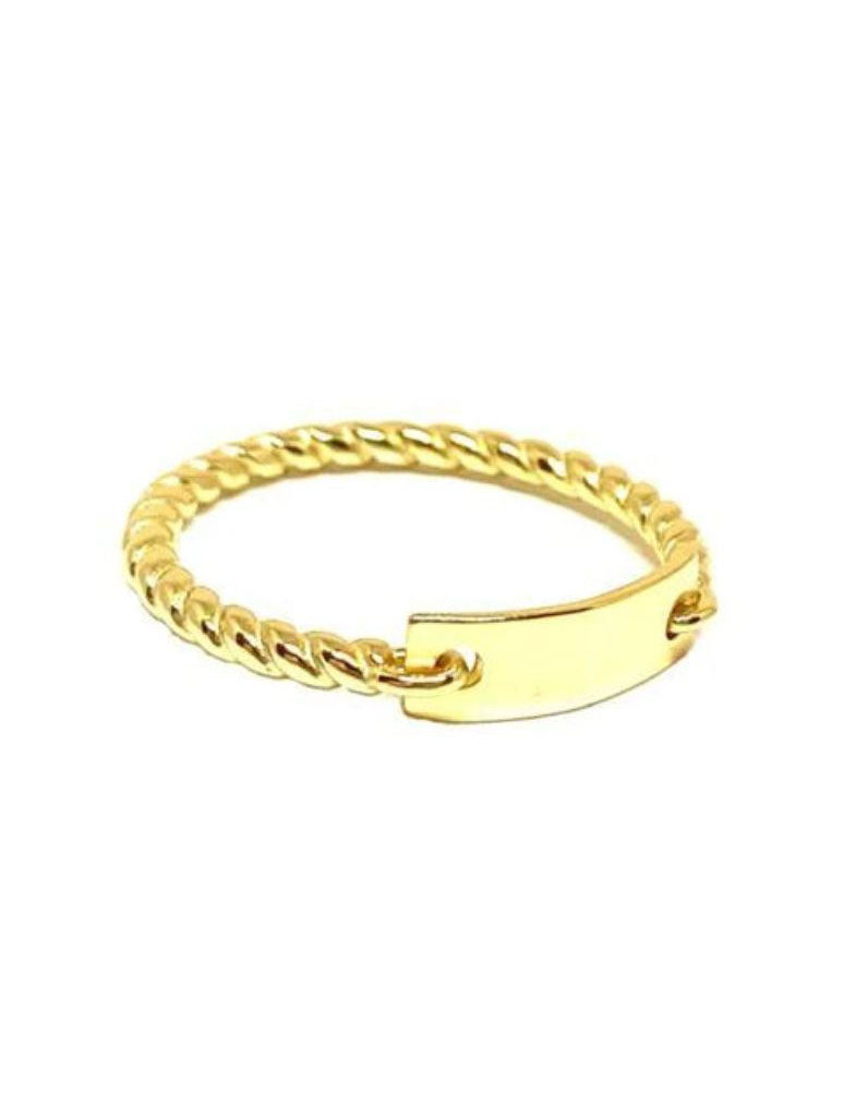 Athena Designs ID Tag Style Ring in Gold