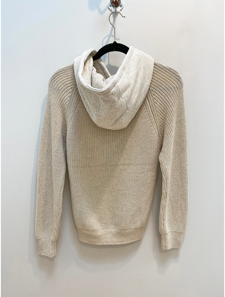 Skies Are Blue Knit Hoodie Sweater in Ivory