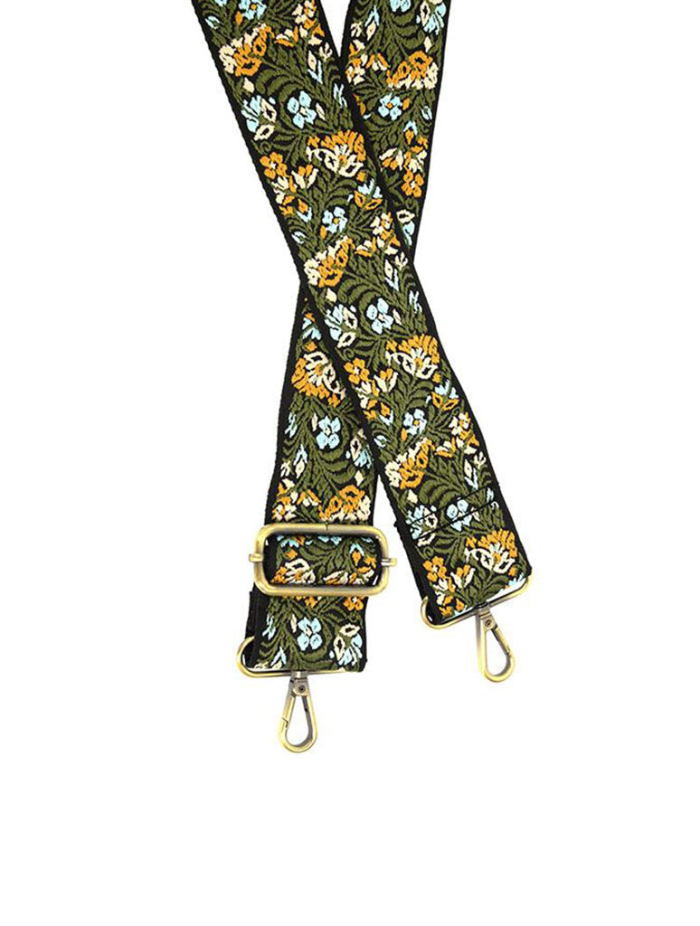 "Joy Susan 2"" Floral Embroidered Bag Strap in Green/Yellow"