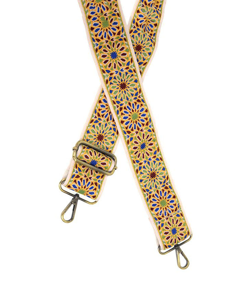 "2"" Floral Embroidered Bag Strap in Yellow"