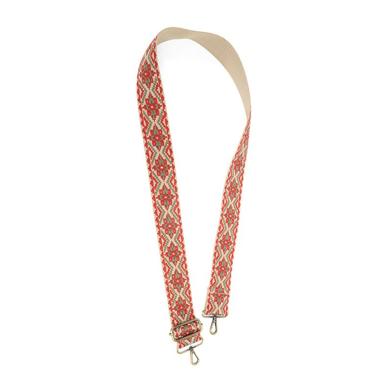 "2"" Embroidered Bag Strap in Red/Khaki"
