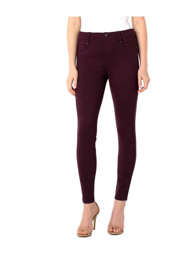 Liverpool Gia Glider Stretch Knit Pants in Aubergine