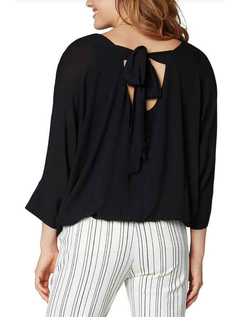 Liverpool Gathered Hem Dolman Top in Black