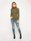 Mystree Mock Neck Pullover in Olive