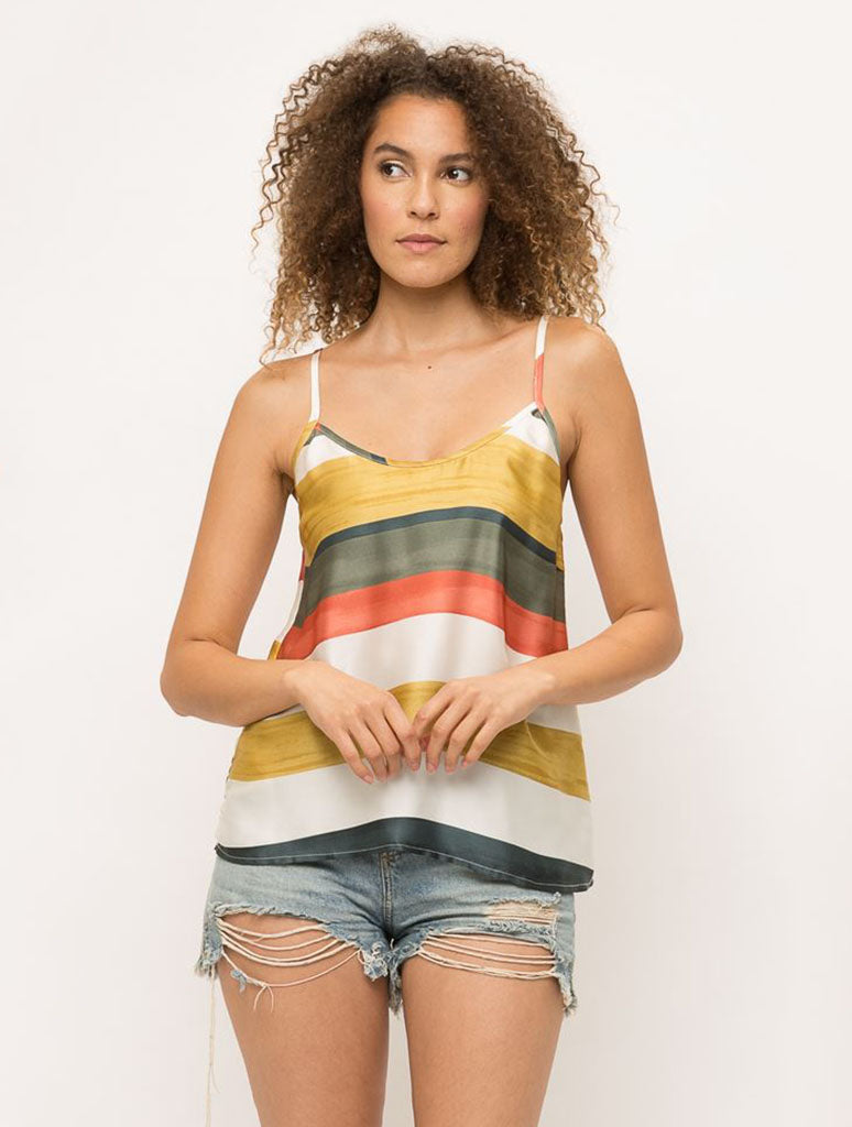 Mystree Striped Tank in Red/Teal/Mustard