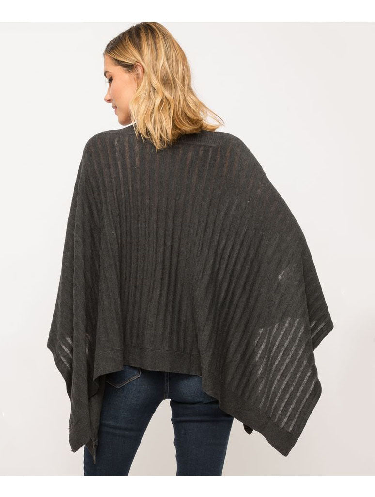 Mystree Flowy Cape Top in Charcoal