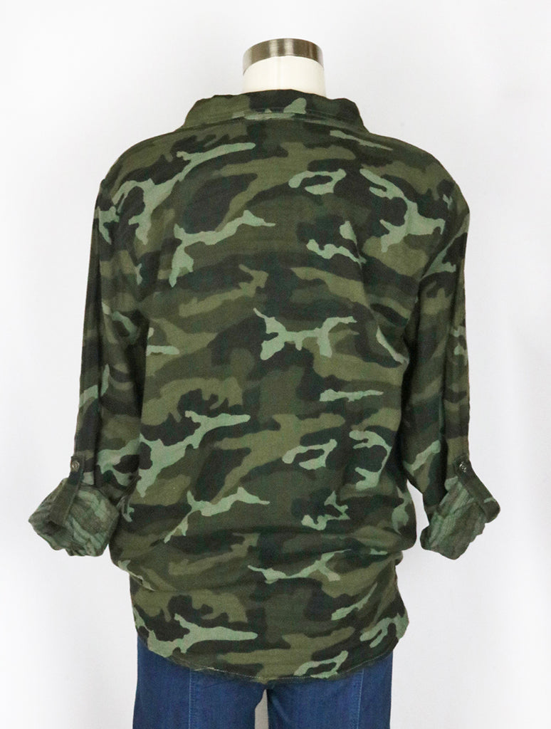 Mystree Button Down Blouse in Camo