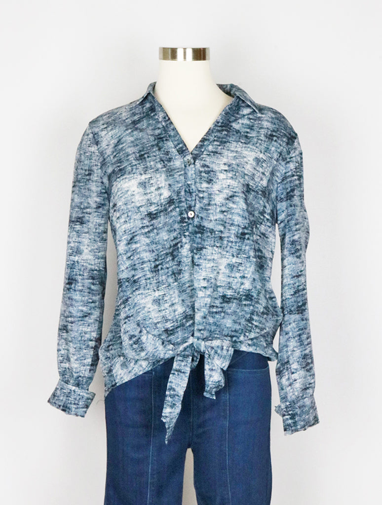 Mystree Tie Waist Blouse in Blue Wash