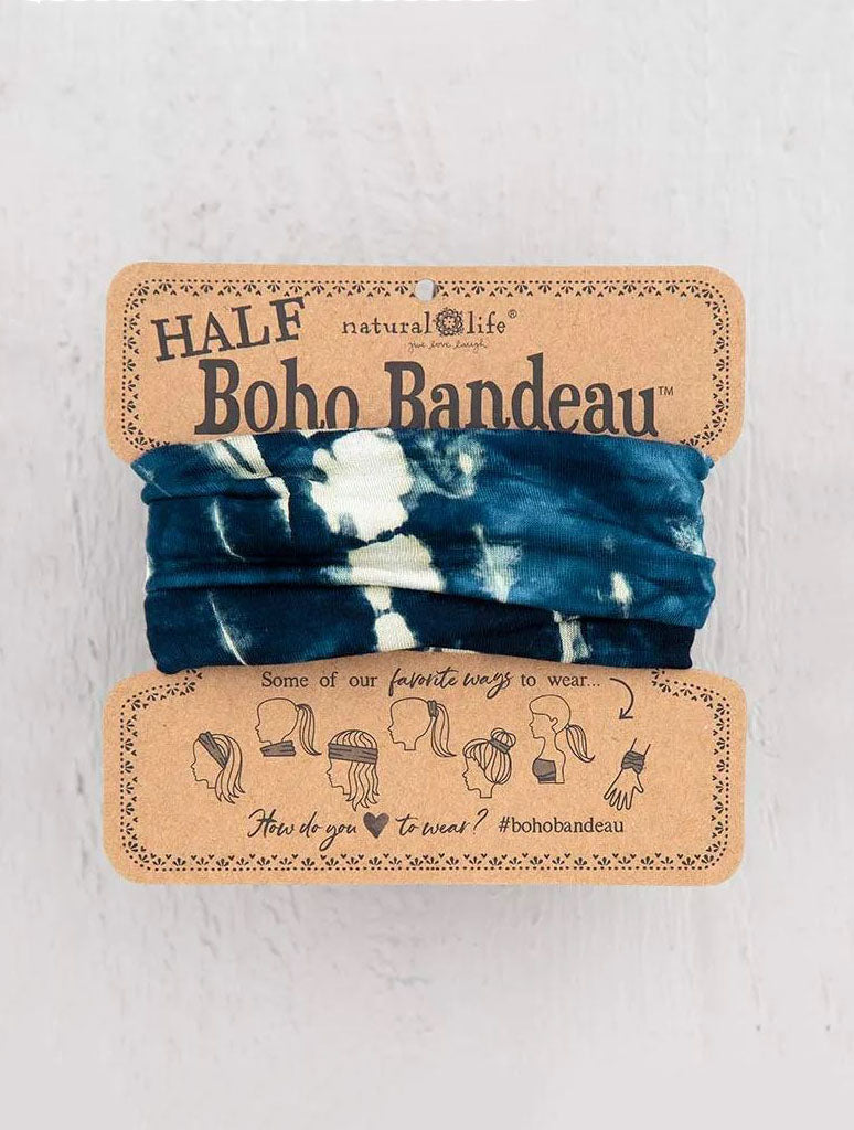 Natural Life 1/2 Boho Bandeau in Indigo Cream Tie-Dye