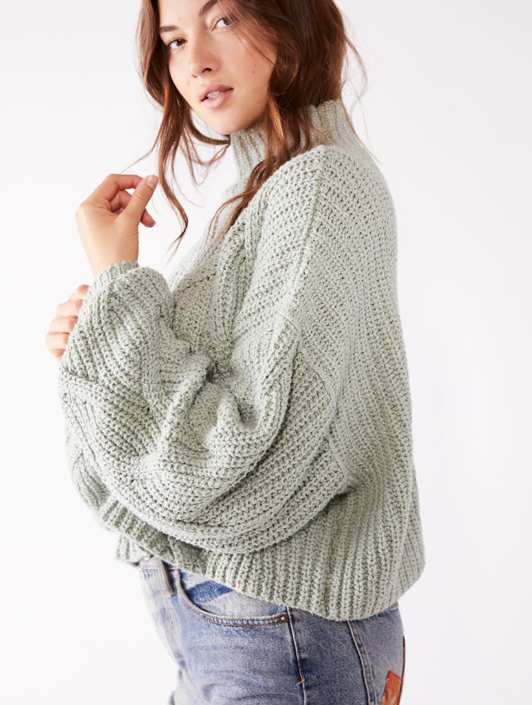 Free People Seasons Change Sweater in Mint