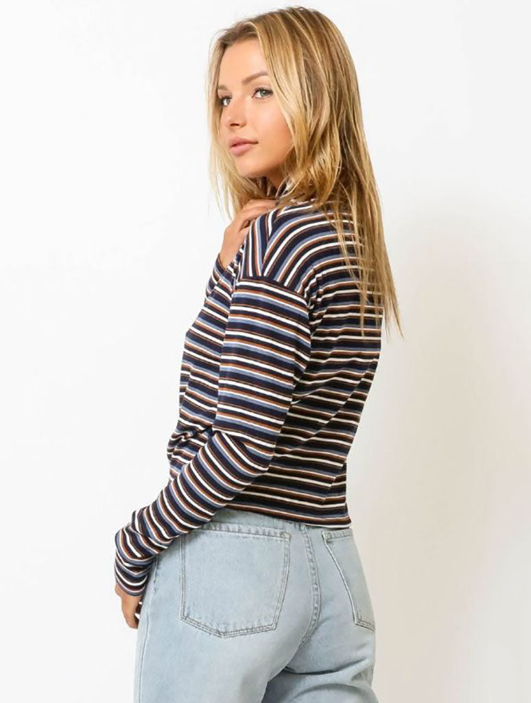 Olivaceous Striped Turtleneck Tee in Navy Brown