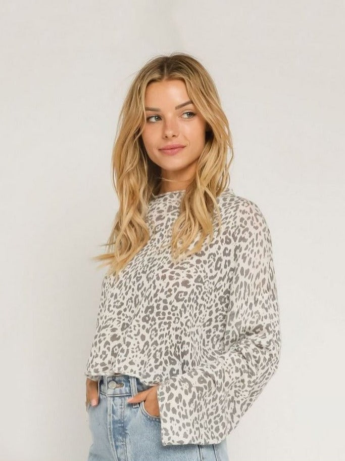 Olivaceous Crew Neck Sweater in Grey Leopard