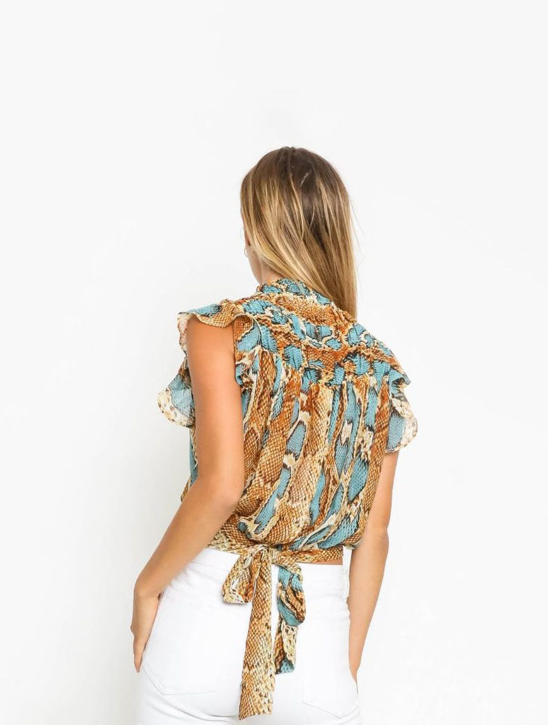 Olivaceous Snake Blouse in Turquoise Spice