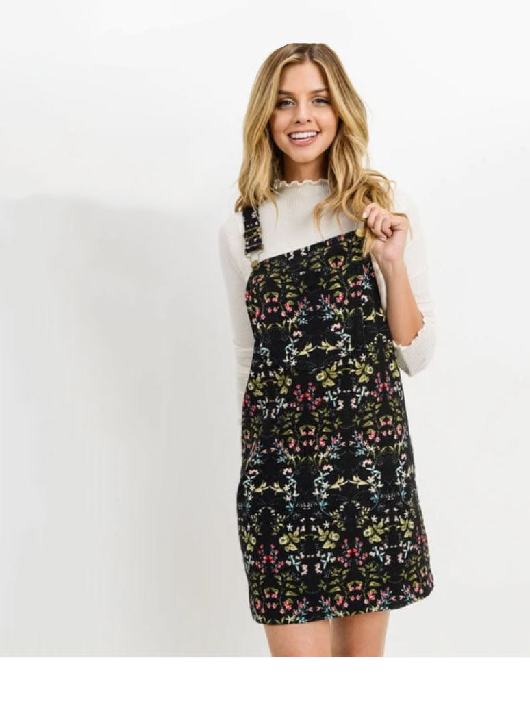 Paper Crane Corduroy Floral Overall Dress in Black
