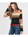 Paper Crane Striped Bell Sleeves Top in Multi
